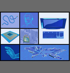 internet and computer technologies set vector image vector image