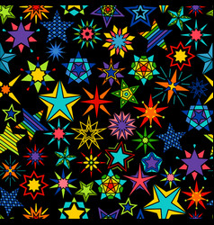 kaleidoscope stars black background vector image