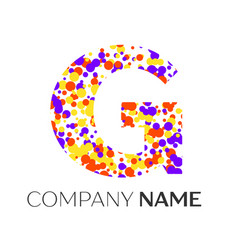 letter g logo with purple yellow red particles vector image vector image