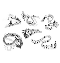 Swirling musical wave icons vector image vector image