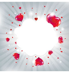Valentines Day Card With Red Hearts And Bokeh vector image