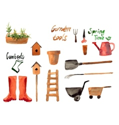A set watercolor of gardening tool vector image vector image