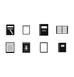 notebook icon set simple style vector image