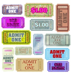 Set of ticket admit one EPS 8 vector image