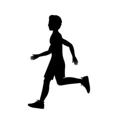 silhouette man running left side vector image