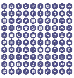 100 calendar icons hexagon purple vector