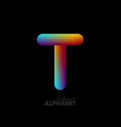 3d iridescent gradient letter t vector