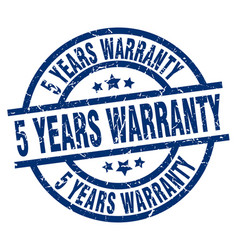 5 years warranty blue round grunge stamp vector