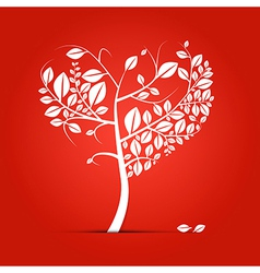 Abstract heart-shaped tree on red background vector image