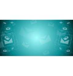 Abstract tech banner with letters envelopes vector