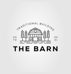 Architecture barn and cottage outline logo dsign vector