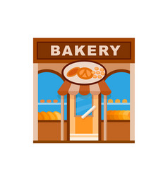 Bakery front view flat icon vector