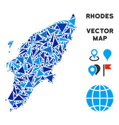 Blue triangle greek rhodes island map vector