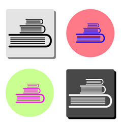 book stack flat icon vector image