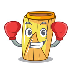 Boxing homemade wrapped tamales isolated on mascot vector