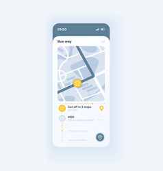 Bus route tracking app smartphone interface vector