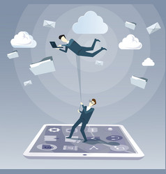 business man hold colleague flying in sky using vector image