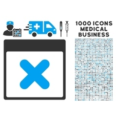 Cancel Calendar Page Icon With 1000 Medical vector