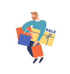 Cartoon bearded man carry box and shopping bag vector