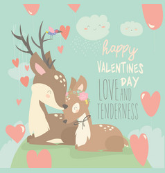 cartoon deer couple with hearts balloons happy vector image