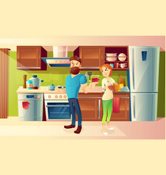 Cartoon happy couple in a modern kitchen vector
