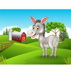 Cartoon happy donkey in the farm vector