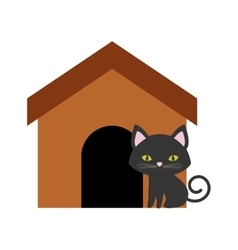 Cat nose funny animal brown house vector