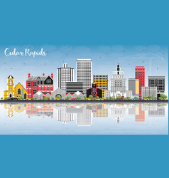 cedar rapids iowa skyline with color buildings vector image