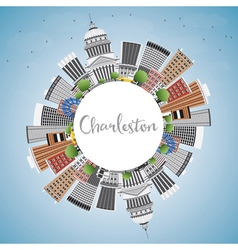 Charleston Skyline with Gray Buildings vector image