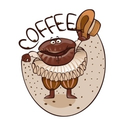 Cheerful coffee grain dances dance vector