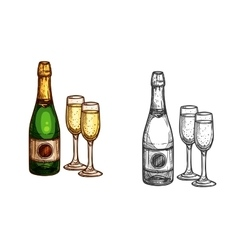 Christmas new year champagne bottle glass sketch vector