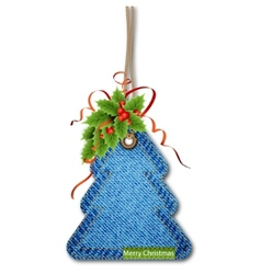 Christmas tree on the denim texture vector