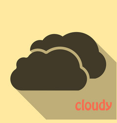 Cloud icon in flat style isolated on color vector