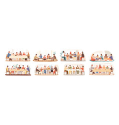 collection scenes with family at festive dinner vector image