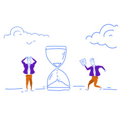 Confused businessmen hurry up sand watch icon vector