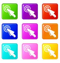 Cursor clicking icons set 9 color collection vector