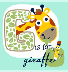 cute giraffe cartoon and funny pencil vector image