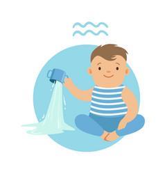cute little boy as aquarius astrological sign vector image