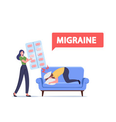 Depression headache sadness woman give pills vector
