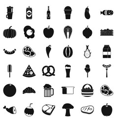 dinner icons set simle style vector image