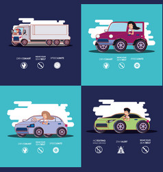 Driver safely campaign set icons vector