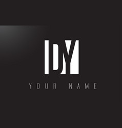 Dy letter logo with black and white negative vector