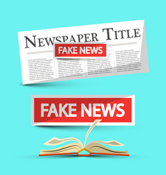 Fake news title on newspapers and book vector