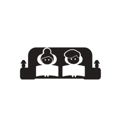 Flat icon in black and white couple on couch vector
