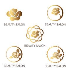 flower logo set for beauty salon beauty shop spa vector image vector image