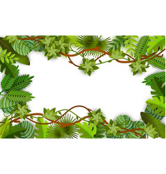 frame and background green vines leaves and vector image