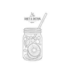 Fruit Smoothie In A Jar Hand Drawn Realistic vector image