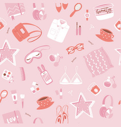 girls accessories pink seamless patern with makeup vector image