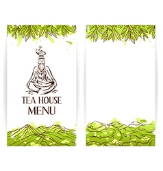 Green tea menu template zen monk with teapot logo vector