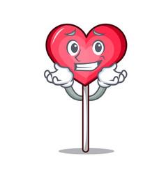 Grinning heart lollipop character cartoon vector